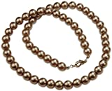 Necklace, Classic Taupe Glass Pearls Necklace 16'' + FREE GIFT BAG