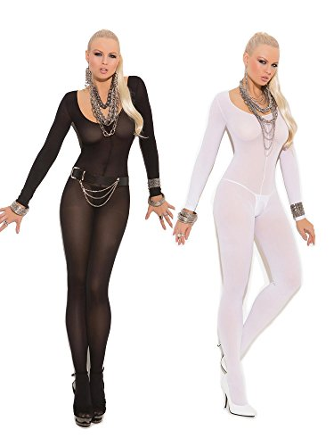 Womens Bodystocking Set- Sexy Long Sleeved Sheer Crotchless Bodysuit Lingerie Pack of ()