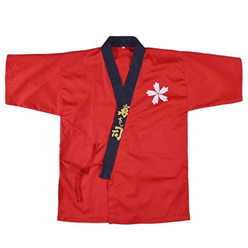 Japanese Sushi Chef Coat Uniforms Kimono for Unisex wafu(Red M) -