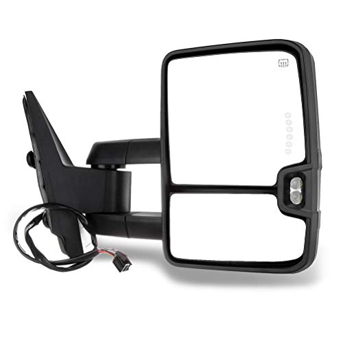 SCITOO Towing Mirrors Exterior Accessories Mirrors fit for 2008-2013 Chevy Silverado All Models 2007-2013 Chevy Tahoe Suburban Avalanche with Right Side Power Heated Turn Signal lamp