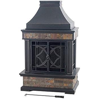 Amazon Com Sunjoy Heirloom Steel Wood Burning Outdoor