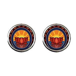 Chicforest Silver Plated Religion Buddhism Holy Lotus Photo Stud Earrings 10mm Diameter