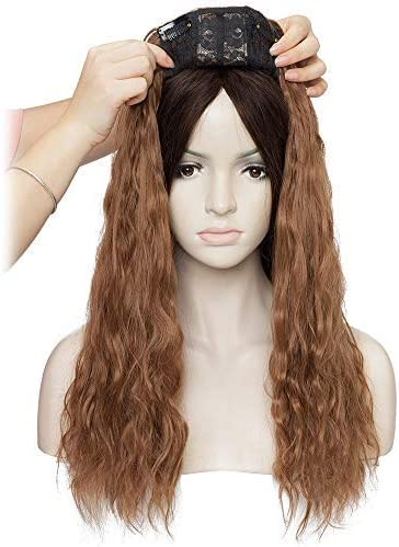 50cm Prótesis Capilar Mujer Rizado [Castaño Claro] Extensiones de Cabello Clip Pelo Sintético (150g): Amazon.es: Belleza