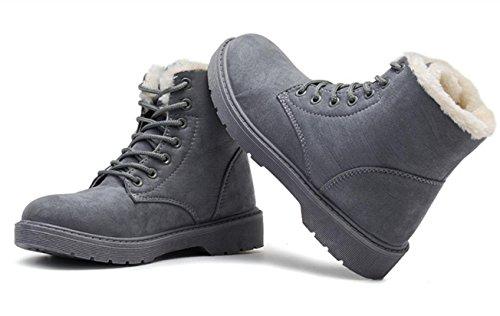 YCMDM Snow Boots inverno Martin Stivali Donne più velluto scarpe caldo cotone impermeabile grigio beige nero Brown 39 36 35 38 40 37 , gray , 36