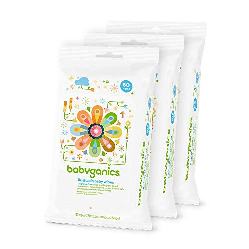 Babyganics Flushable Baby Wipes, Fragrance Free, 60 Count - Packaging May Vary (Pack of 3, 180 Total Wipes)
