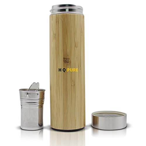 (Hqpure Bamboo Tumbler with Tea Infuser and Strainer – Insulated Stainless Steel Travel Mug – Non-Toxic, BPA-Free – Vacuum Insulation Technology – Detachable Tea Infuser – Original Gift Idea)