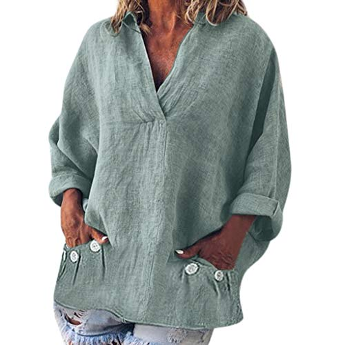 Linen V-Neck Pocket Blouses, QIQIU Womens Fashion Plus Size Solid Casual Long Sleeve Daily T-Shirt Tops