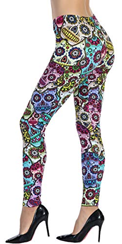 Ndoobiy Women's Printed Leggings Full-Length Regular Size Workout Legging Pants Soft Capri L1(Skull OS)