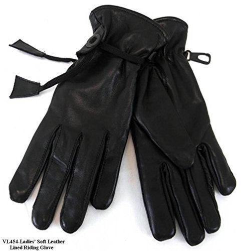 womens Motorcycle Full Finger Driving Gloves Soft Leather with Pull cords Blk(S) (Gloves Road Women Mens Off)