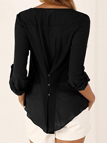 Uni Xiang Femme Ru Longues Blouse V Large T Noir Chemise Shirt Manches Couleur Col ppHvxwqC