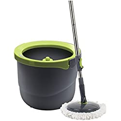 Lock&Lock Single Bucket Spin Mop Cleaning System,1 Telescoping Handle,1 Single Bucket,2 Microfiber Mop Heads