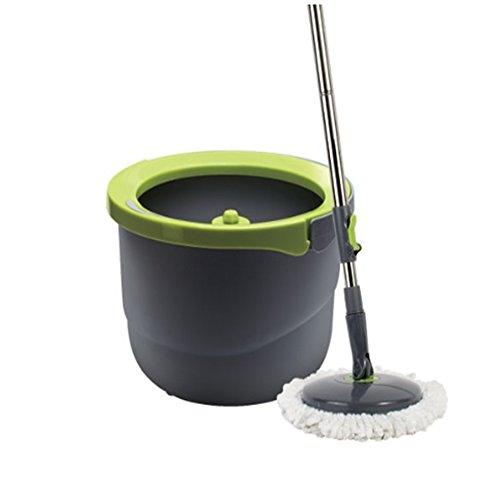 Lock&Lock Single Bucket Spin Mop Cleaning System,1 Telescoping Handle,1 Single Bucket,2 Microfiber Mop Heads
