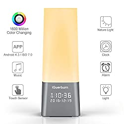 iGuerburn Sleep Sound & Light Therapy Bluetooth with Wake Up Sunrise Simulation Alarm clock /Built-in 6 Soothing Sound /1600M Color LED Lights with 10 Brightness /15 Voice Volume + Free App