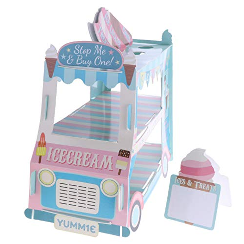BROSCO Ice Cream Bus Cartoon Car Paper Cupcake Stand Cupcake Display Table Decor