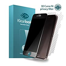 Klearlook [Privacy Series] iPhone 6 / iPhone 6s privacy Tempered Glass Screen Protector + Back Carbon Fiber Film, Black Frame (1+1 Pack)