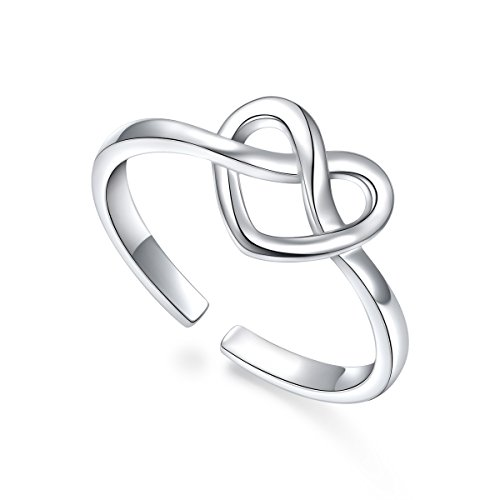 ALPHM Toe Ring for Women S925 Sterling Silver Adjustable Wrap Open Heart Knot Ring by ALPHM