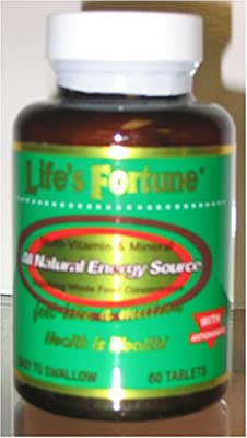 Life's Fortune® Multi-vitamin & Mineral All Natural Energy Source Supplying Whole Food Concentrates - 60 Tabs