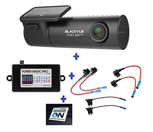 HDVD BlackVue New DR590-1CH 16GB, Car Black Box/Car DVR Recorder, FULL HD 1080P, 60FPS, G Sensor, 16GB SD Card + Power Magic Pro + Fuse taps Warning Sign Included