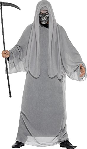 Smiffy's Men's Grim Reaper Costume, Gown and Half Face Mask, Legends of Evil, Halloween, Size ML, (Devil Face Halloween)