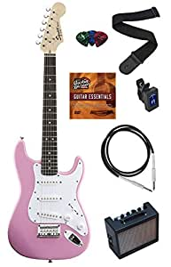 Squier by Fender Mini Strat Electric Guitar Bundle with Amp, Cable, Tuner, Strap, Winder, Picks, Austin Bazaar Instructional DVD, and Polishing Cloth - Pink