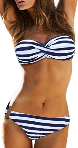 TDOLAH Damen Bandeau Padded Bikini-Set Trägerlosen Badeanzug Push Up (L, blaue Streifen)