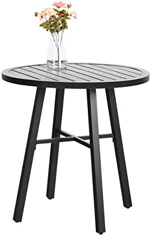 MFSTUDIO Outdoor Bistro Table Round Metal Patio Dining Table Small Side End Adjustable Outdoor Furniture Table,Black