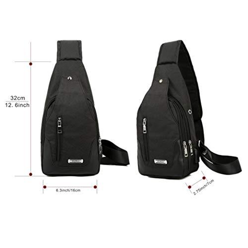 USB Lightweight Unbalance DOUN women with Casual Chest Port Black Shoulder Canvas Sling Backpack Crossbody Charging Bag Bag Men for fwBpnF7Bq