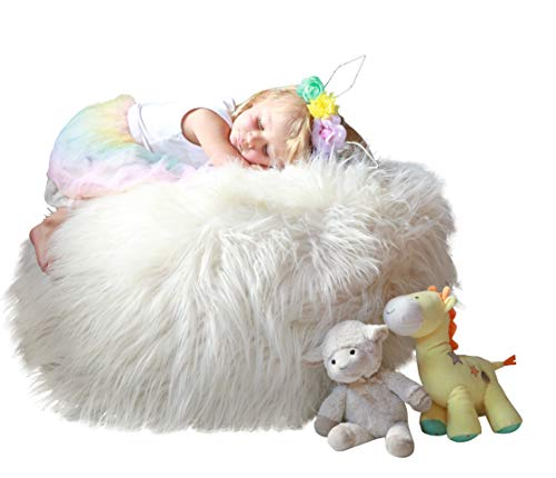 MiniOwls Plush Toy Storage Solution - Ivory White Furry Bean Bag - Soft Teddy Organizer with a Zipper for Easy use. Jumbo Size 25x25x20 inch