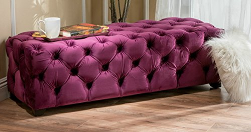 Solid Ottoman Foot Stool Purple Button Tufted Velvet Soft Bench by HomePop