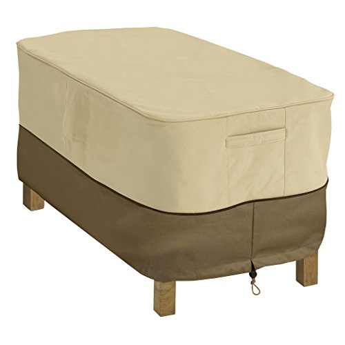 Classic Accessories 55-121-011501-00 Veranda Rectangular Patio Coffee Table Cover, Pebble (Stackable Ottoman)