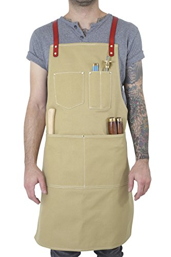 - Twig and Bones Canvas and Leather Utility Apron with Pockets - Tan
