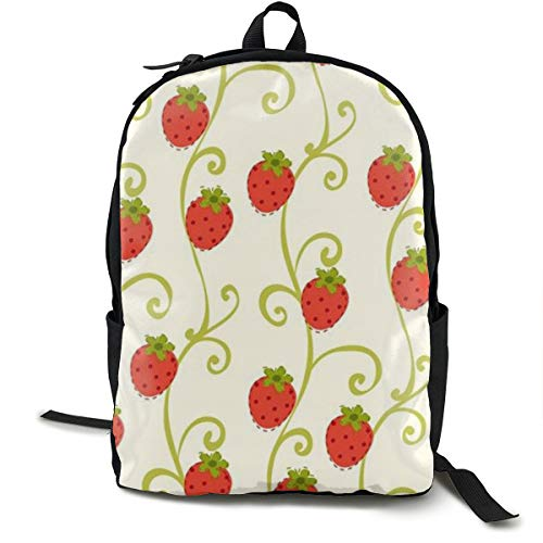 Strawberry Background Lightweight Backpack Laptop Fits 15 Inch Cushion Straps With Bottle Side Pockets ()
