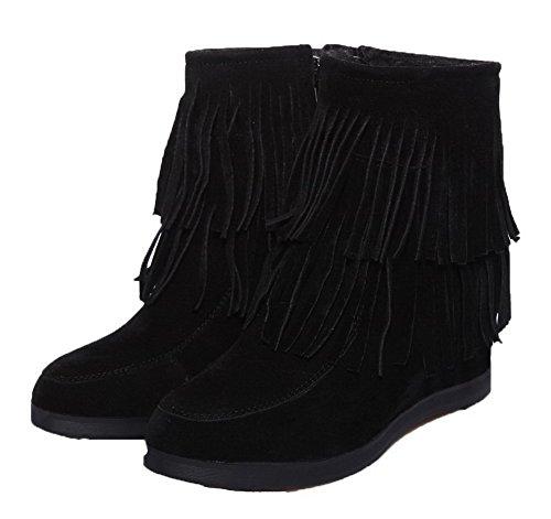 Low Ageemi Noir Frange With Punta Basso Tirare Tonda Heels Shoes Boots Eux113 Donna wgrZnqfXg