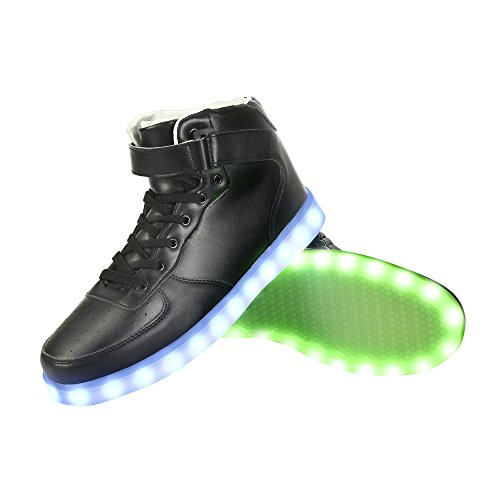 GreatJoy Cool Fun Light Up LED Shoes Sneaker 7 Colors USB Charging (36/5.5B Women / 4D Men, Black) -