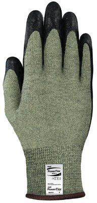 (Ansell Edmont 80-813-8 PowerFlex Neoprene Foam Dipped Palm Coated Work Gloves with Yellow and Gray Kevlar and Glass, Core Yarn Knit Liner, Size 8, Black)