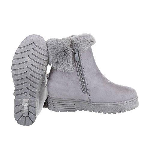 Schuhcity24 Damen Schuhe Stiefeletten Gefütterte Keil Wedges Boots Grau
