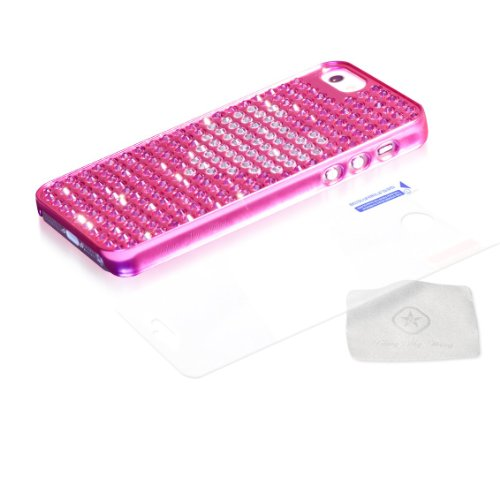 blingmything ei5-PM PK de CRH Crystal Heart Extravaganza Coque pour Apple iPhone 5Rose
