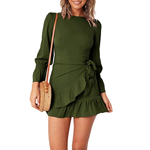 WEEPINLEE Womens Long Sleeve Round Neck Ruffles Wrap Dresses Party Dress (Army Green, - Cotton Wrap Long Sleeve
