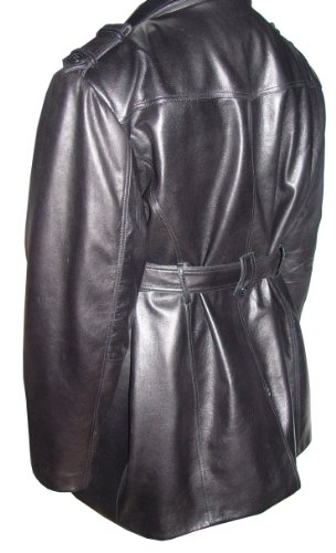 Nettailor 2041 Men Fine Clean Classic Black Leather Trench Coat by NETTAILOR (Image #5)