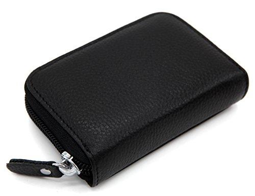 Zhoma RFID Blocking Genuine Leather Credit Card Case Holder Security Travel Wallet - Black
