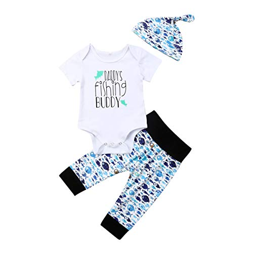 Lamuusaa Newborn Toddler Baby Girl Boy Letter Printed Short Sleeve Romper Bodysuit Pants Hat 3Pcs Summer Outfit (6-12M, Style B)