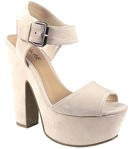 Ladies Womens Demi Wedge Platform High Heel Ankle Strap Party Sandals Shoes Size Nude Cream Beige Suede wC3iejf3Hb