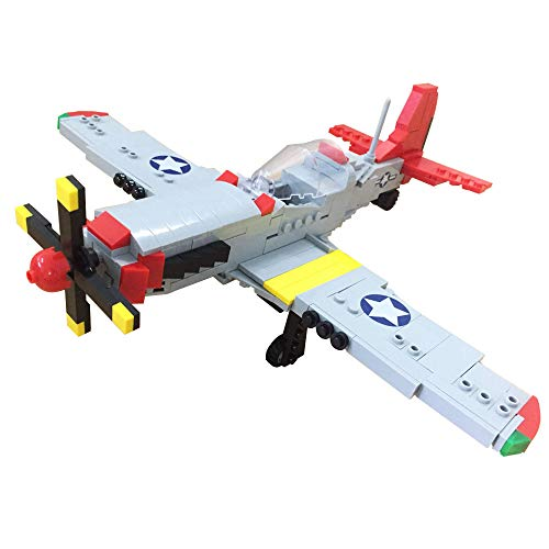 Block Airplane Building - Bestoyz The Fighter of World War II North American P-51D Mustang Building Bricks Kit, WWII Military US Army Airplane Model Toys (377PCS)