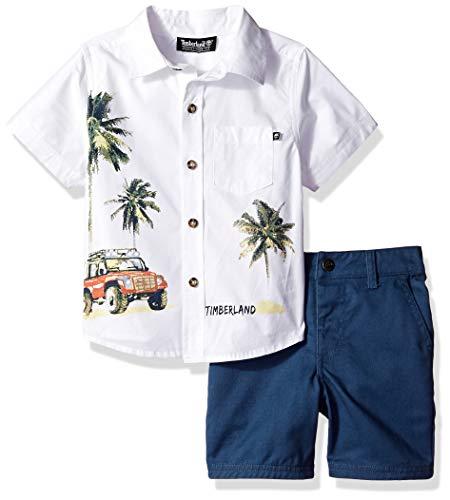 Timberland Boys' Toddler 2 Pieces Shirt Shorts Set, White/Blue, 4T (Toddler White Timberland)