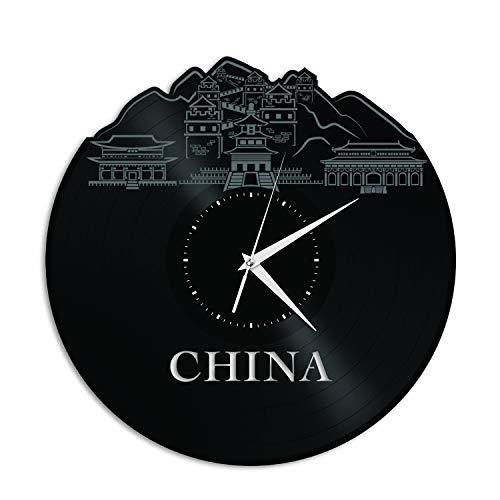 VinylShopUS - China Vinyl Wall Clock Skyline Unique Gift Home Office -