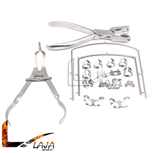 LAJA IMPORTS NEW RUBBER DAM KIT STARTER OF 18 PCS WITH FRAME PUNCH CLAMPS DENTAL INSTRUMENTS ()
