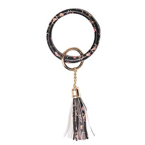 Key Ring Leather Flower - Bracelet Key Chain Ring PU Leather Tassel Wristlet Bangle Key Holder for Women Men (Flower Ox Horn)