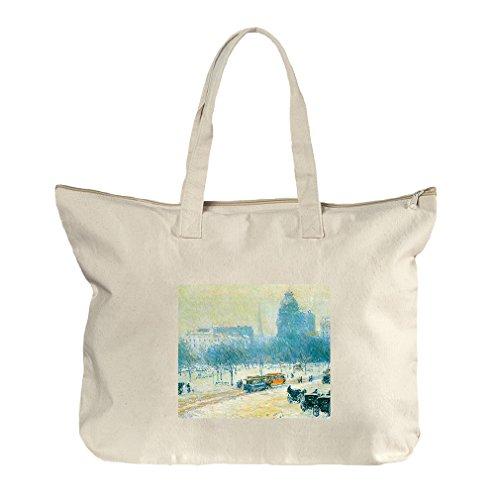 Winter In Union Square (Hassam) Canvas Beach Zipper Tote Bag - At Square Shopping Union