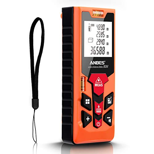 Anbes Laser Measure 196Ft/M/In/Ft+In Mute Laser Distance Measure with 2 Bubble Levels, Backlit Dispaly, Pythagorean Mode,Area,Volume Calculation,Continuous/Single-distance Measurement Battery Included