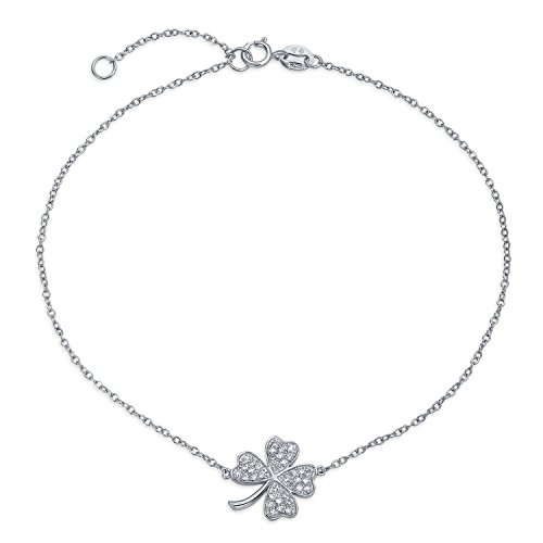 (Four Leaf Clover Shamrock Flower Anklet Lucky Charm Cubic Zirconia CZ Link Ankle Bracelet For Women Sterling Silver)